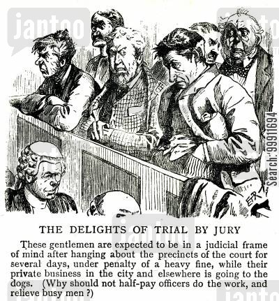 trials cartoon humor: A jury in court