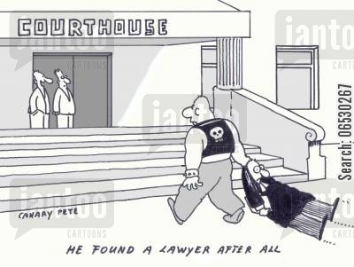 courthouse cartoon humor: Courthouse: He found a lawyer after all.