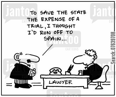 flee cartoon humor: 'To save the state the expense of a trial, I thought I'd run off to Spain.'