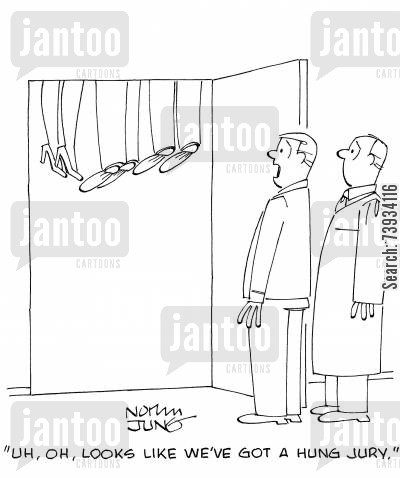 deliberation cartoon humor: 'Uh, oh, looks like we've got a hung jury.'