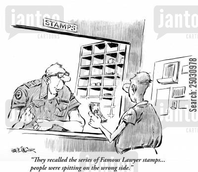 stamps cartoon humor: Clerk: 'They recalled the series of Famous Lawyer stamps... people were spitting on the wrong side.'