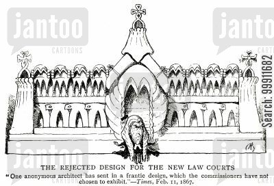 architect cartoon humor: The Rejected Design For The New Law Courts