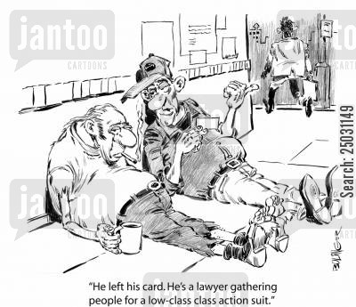 accident lawyer cartoon humor: 'He left his card. He's a lawyer gathering people for a low-class class action suit.'