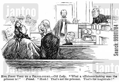 defendant cartoon humor: Old lady mistaking tha magistrate for the prisoner