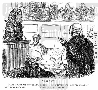 trial cartoon humor: A witness giving testimony in court