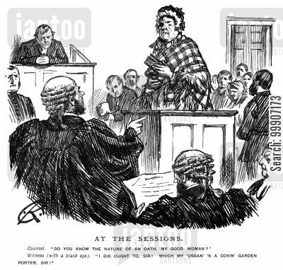 witnesses cartoon humor: A lady with a black eye taking the stand in a courtroom