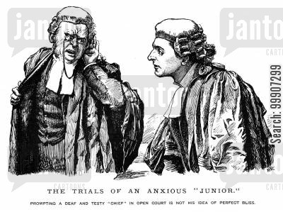 court dress cartoon humor: Two lawyers in a royal court