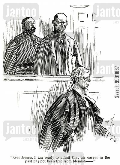 guilty cartoon humor: Barrister defending a criminal