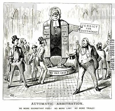 laws cartoon humor: An automatic arbitration machine