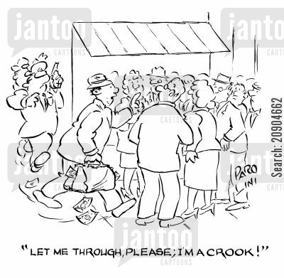 po cartoon humor: 'Let me through, please, I'm a crook!'