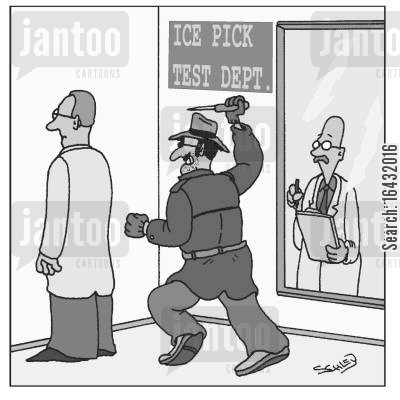 ice pick cartoon humor: At the Ice Pick Test dept.
