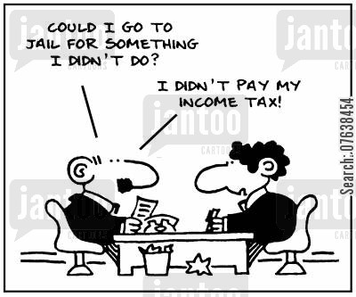 tax fraud cartoon humor: 'Could I go to jail for something I didn't do? I didn't pay my income tax.'