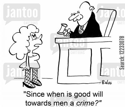 good will towards men cartoon humor: 'Since when is good will towards men a crime?'