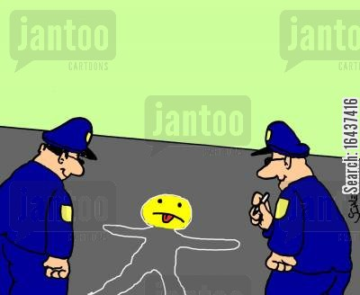 happy face cartoon humor: Smiley face Crime Scene