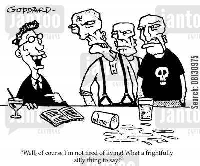 public school boys cartoon humor: 'Well of course I'm not tired of living! What a frightfully silly thing to say!'