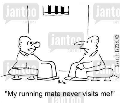 on the run cartoon humor: 'My running mate never visits me!'