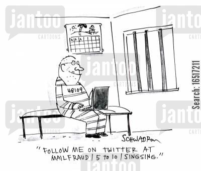 microblog cartoon humor: 'Follow me on Twitter at mailfraud5 to 10singsing.'