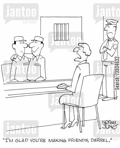 cell mate cartoon humor: 'I'm glad you're making friends, Darrel.'