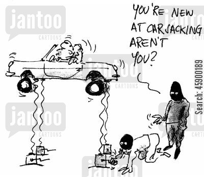 professional thief cartoon humor: 'You're new at carjacking aren't you?'