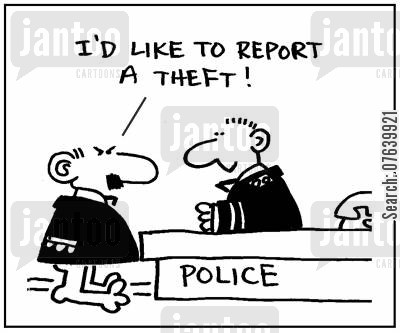 injured parties cartoon humor: 'I'd like to report a theft.'