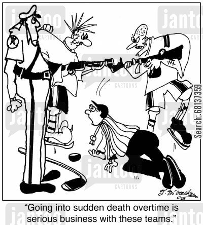 machine gun cartoon humor: 'Going into sudden death overtime is serious business with these teams.'