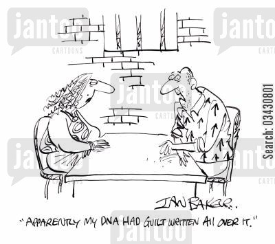 prison visit cartoon humor: 'Apparently my DNA had guilt written all over it.'