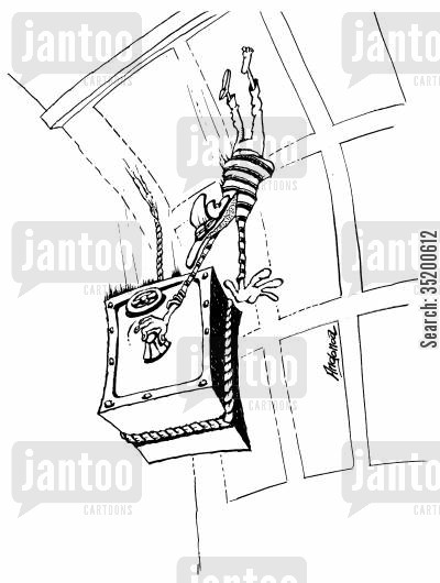 safes cartoon humor: Robber still desperately trying to crack a safe as they both fall from the roof