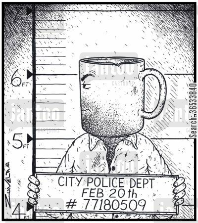 clay cartoon humor: A man with a head shaped like a coffee mug getting a Police Mugshot done of himself.