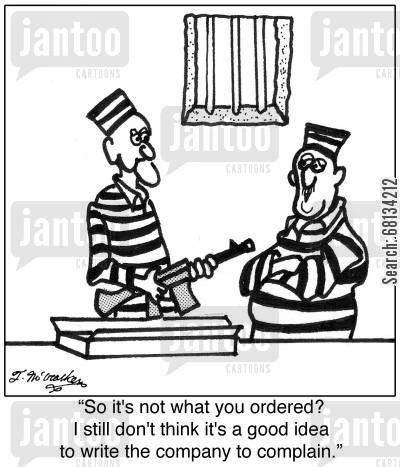 mail order goods cartoon humor: 'So it's not what you ordered? I still don't think it's a good idea to write the company to complain.'