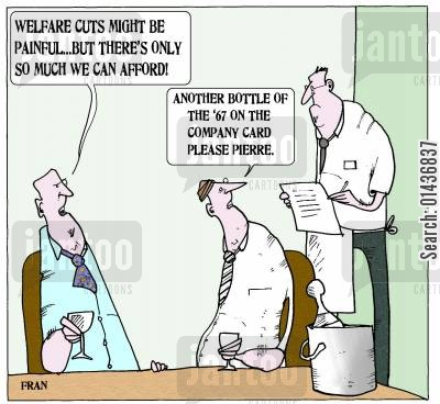 coalition cartoon humor: 'Welfare cuts might be painful but there's only so much we can afford.'