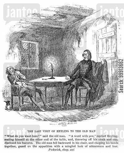pickwick papers cartoon humor: The last visit of Heyling to the old man