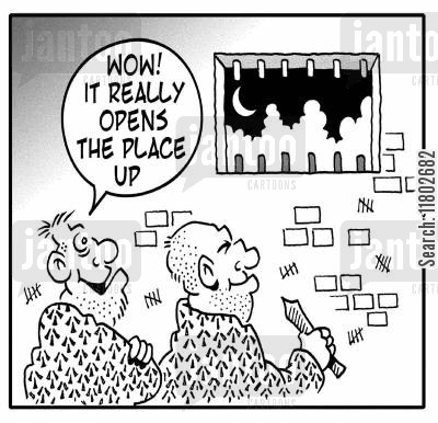 open up cartoon humor: 'Wow. It really opens the place up.'
