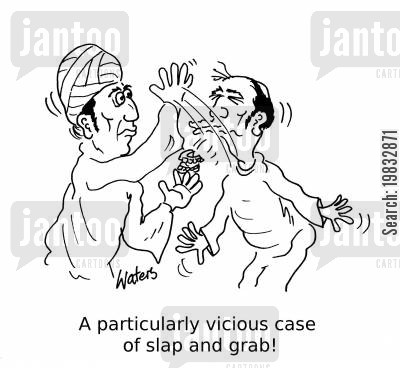 false teeth cartoon humor: A particularly vicious case of slap and grab!