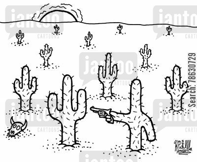 cacti cartoon humor: Cactus in desert with gun!