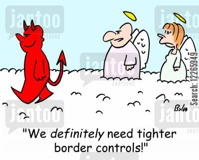 illegal immigrants cartoon humor: 'We definitely need tighter border controls!'