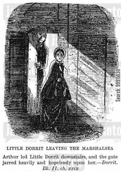 mr clennam cartoon humor: Little Dorrit leaving The Marshalsea