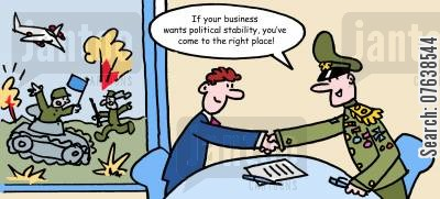 political stability cartoon humor: 'If your business wants political stability, you've come to the right place.'
