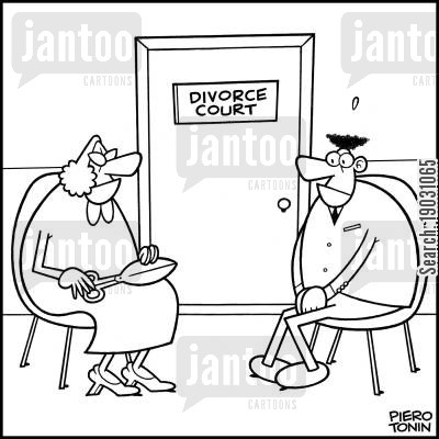 bloodthirstiness cartoon humor: Outside the Divorce Court.