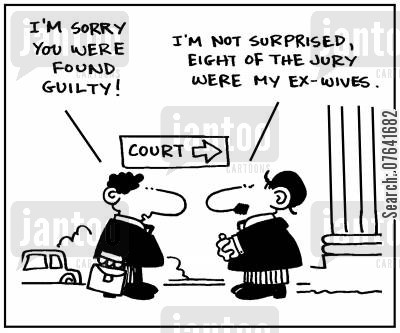 ex wives cartoon humor: 'I'm sorry you were found guilty.'