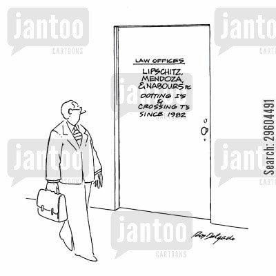 notices cartoon humor: Dotting I's and crossing T's.