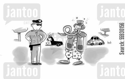 breathalyzer cartoon humor: Drunk clown blows into balloon for sobriety test for cop.