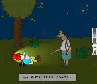 garden ornaments cartoon humor: My first dead gnome!