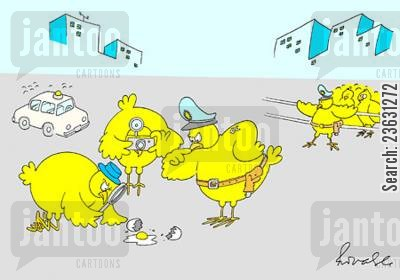 police woman cartoon humor: Chickens investigating an egg murder