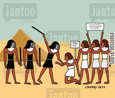 baton cartoon humor: Egyptian riots.