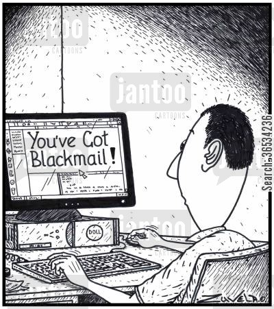 criminal offence cartoon humor: 'You've got BlakcMail!'