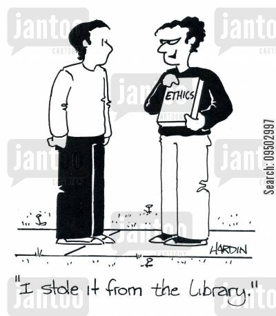 right and wrong cartoon humor: 'I stole it from the library.'