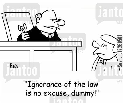 ignorance is no excuse cartoon humor: 'Ignorance of the law is no excuse, dummy!'