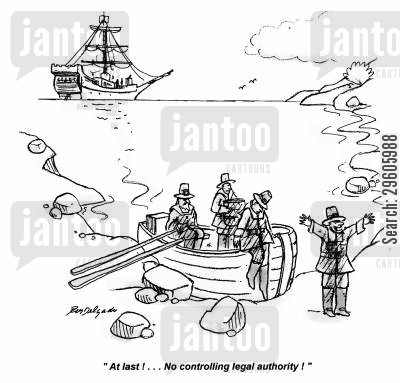 discovers cartoon humor: 'At last!... No controlling legal authority!'