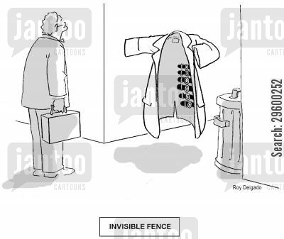 stolen goods cartoon humor: Invisible Fence.