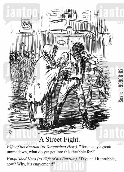 conflict cartoon humor: A street fight.